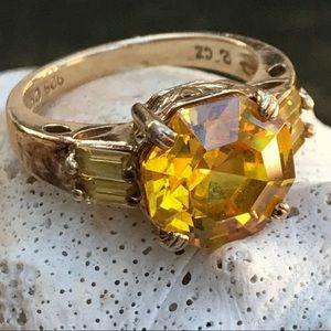 Vintage Ross-Simon Gold Sterling CZ Ring